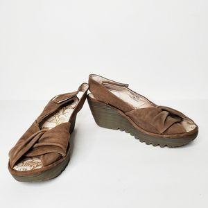 Fly London Yakin Wedge Slingback Sandals Size 40